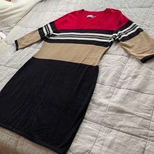 Calvin Klein Red Black Tan & White knit Dress XL